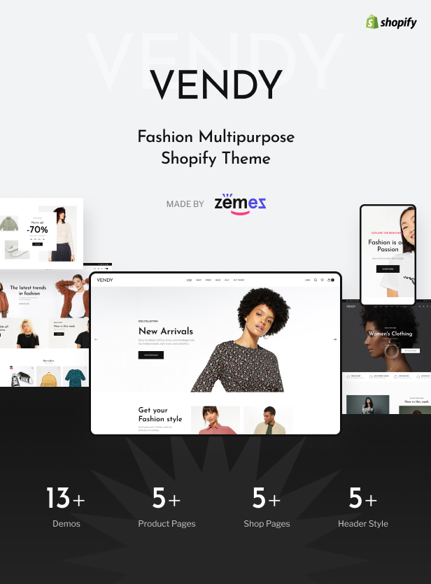 Vendy - Multipurpose Shopify Theme for Fashion - 1